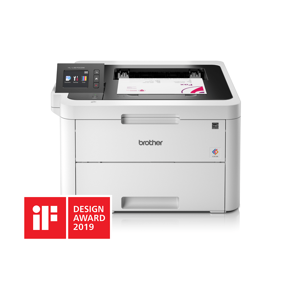HLL3270CDW colour LED wireless printers front facing with paper