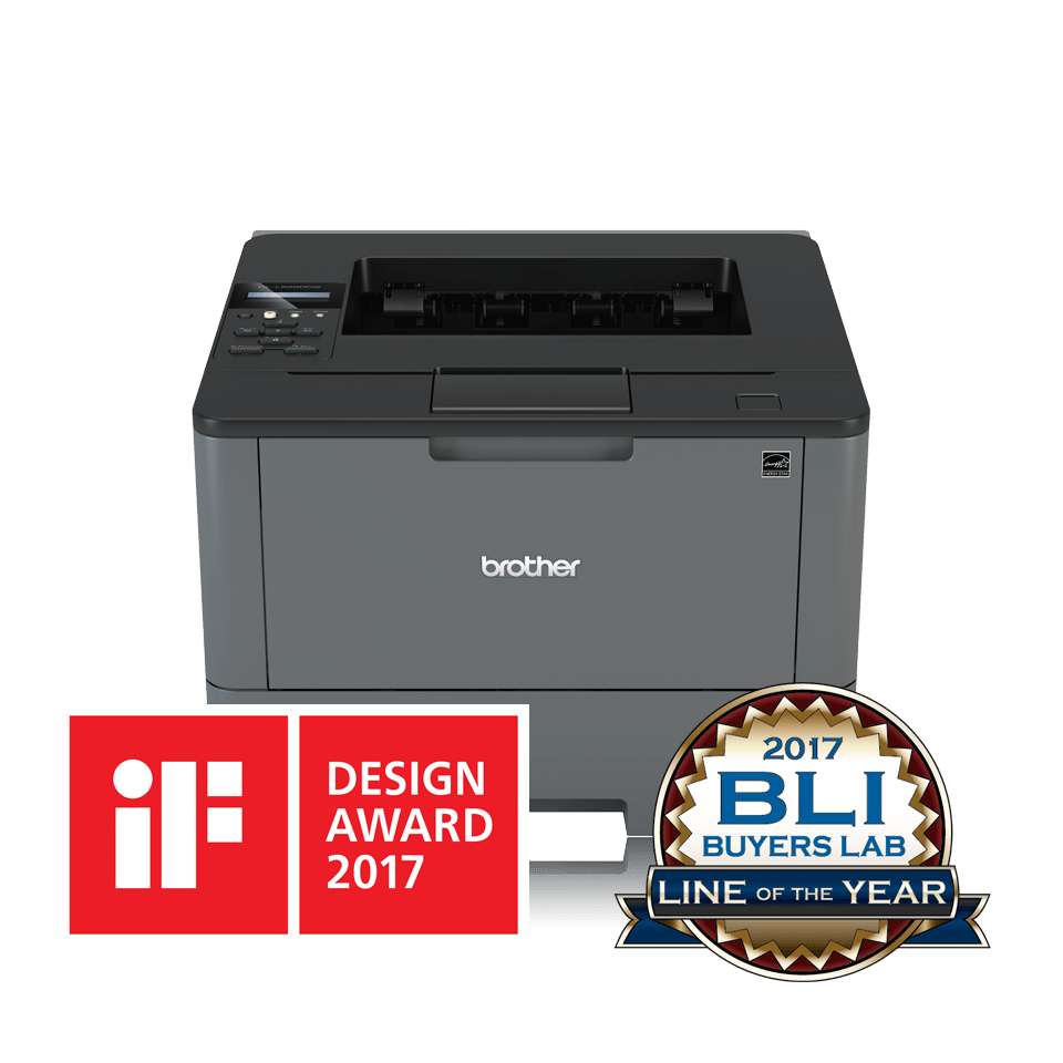 HLL5200DW front view with iF and BLI award logos