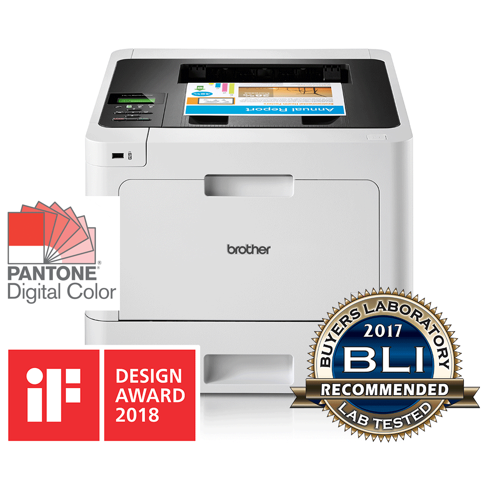 HL-L8260CDW professional colour printer with BLI award logo and IF Design 2018 logo