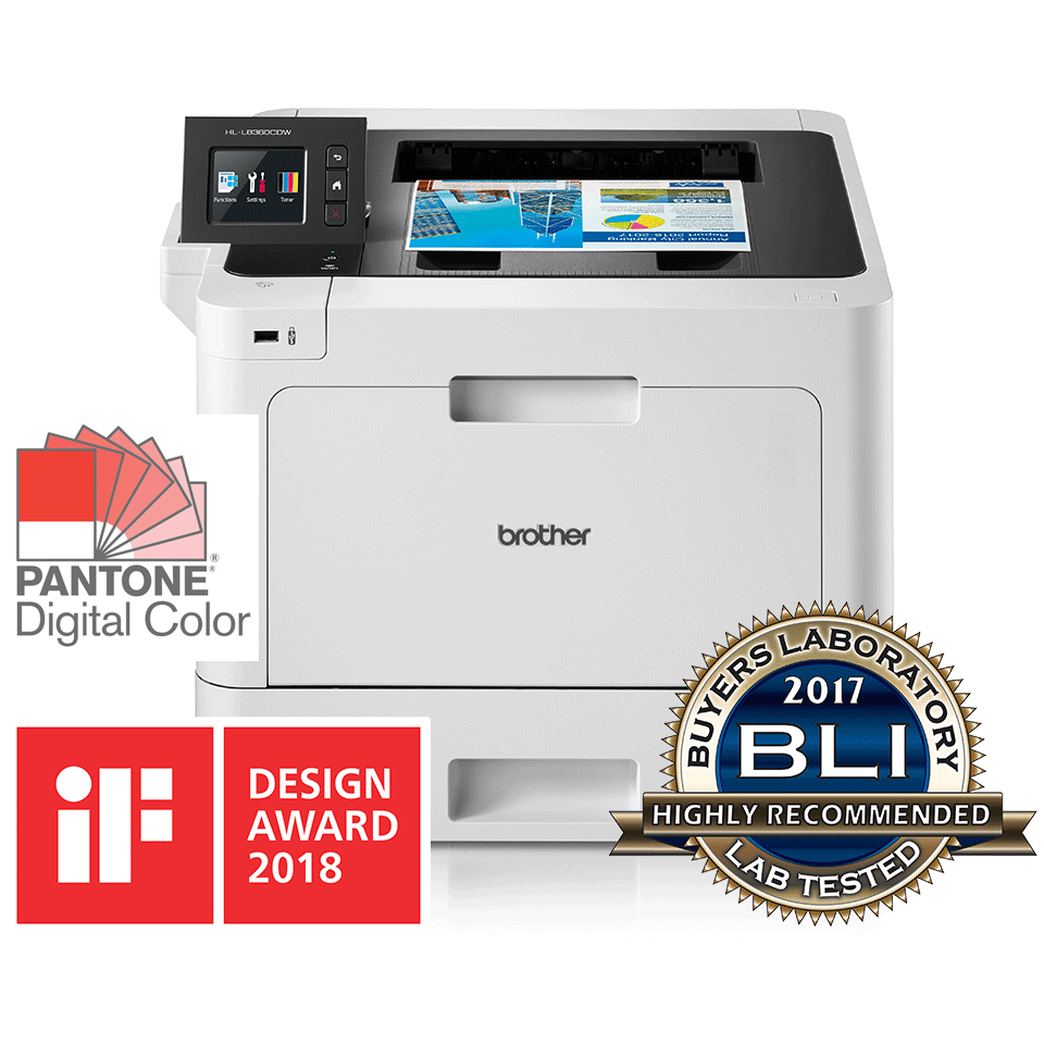 HL-L8360CDW front view and reflection with BLI award logo and IF Design award 2018 logo