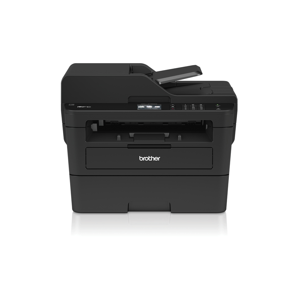 Compact 4-in-1 mono laser printer front with shadow