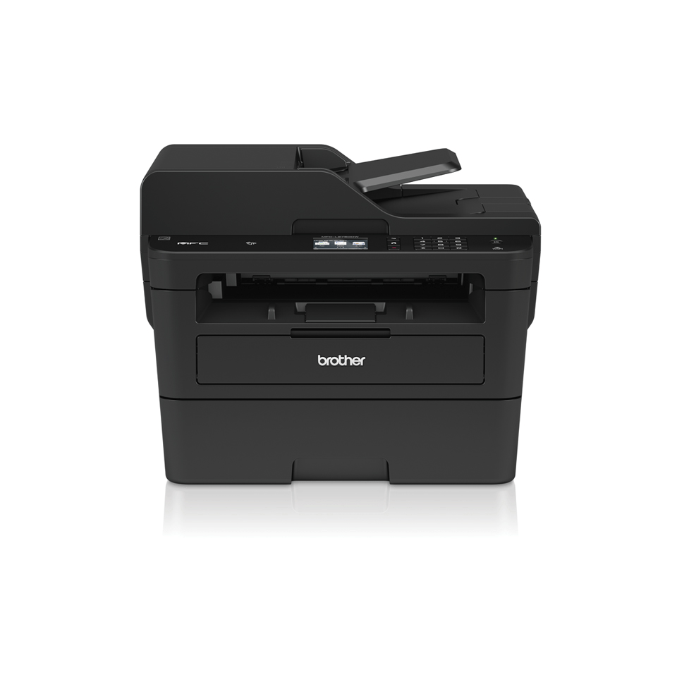 Compact 4-in-1 mono laser printer facing front with shadow