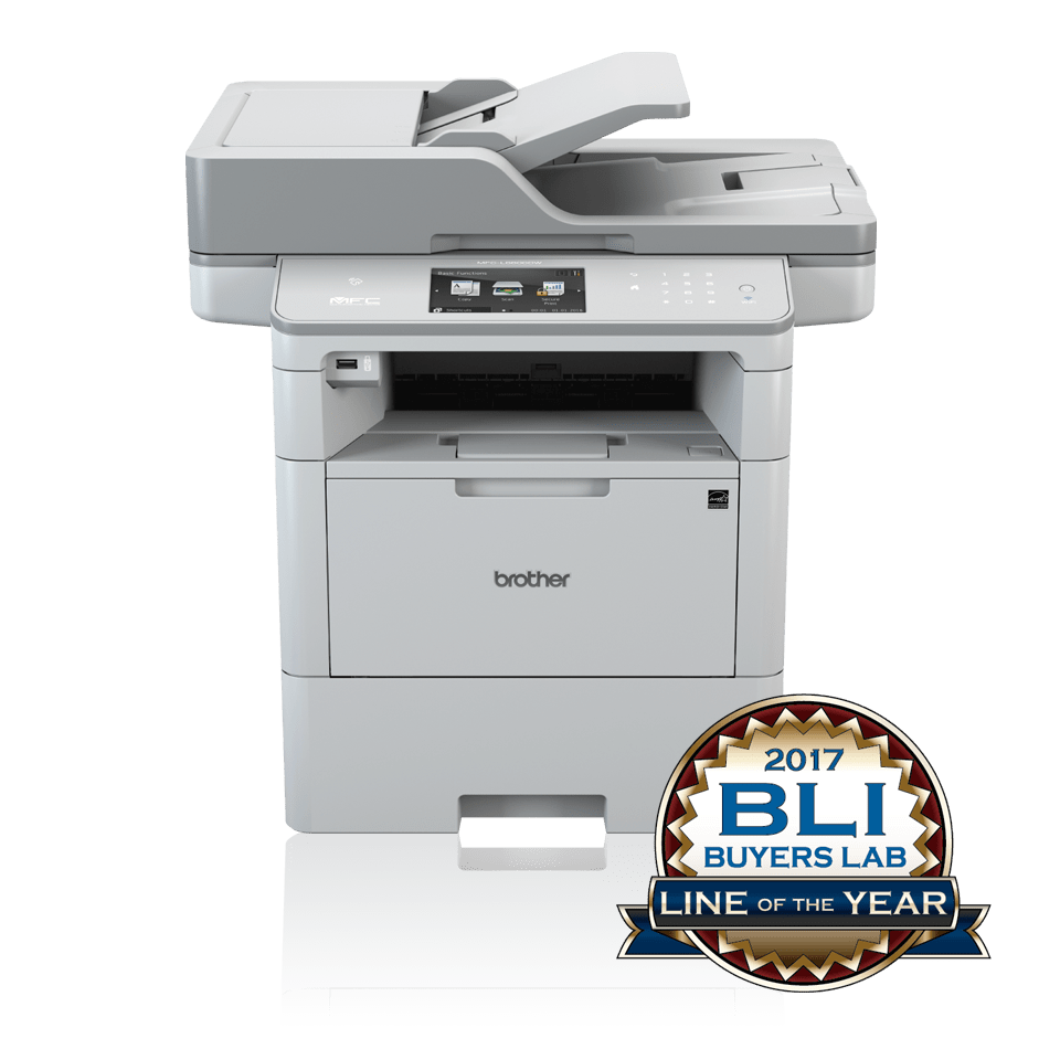 MFCL6800DW front view with BLI Line of the Year logo