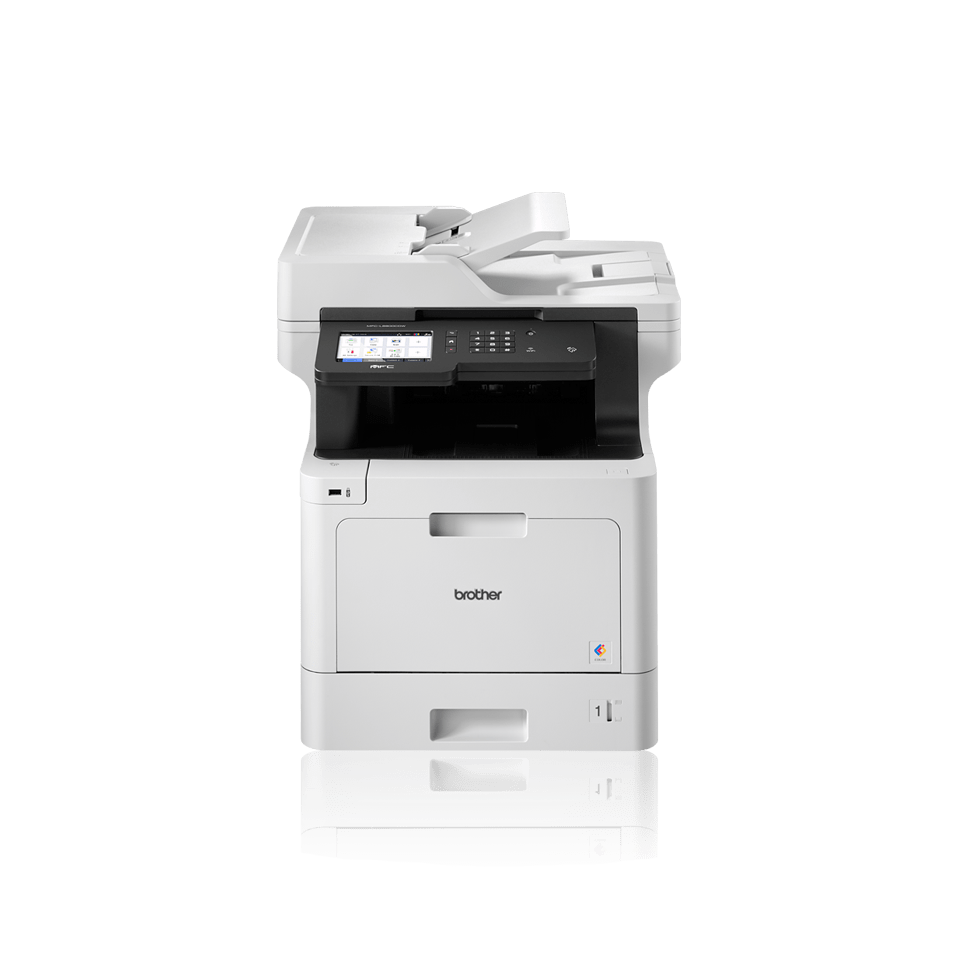 Brother business colour laser MFCL8900CDWLT facing front with additional paper tray with BLI Pick and IF Design 2018 logo