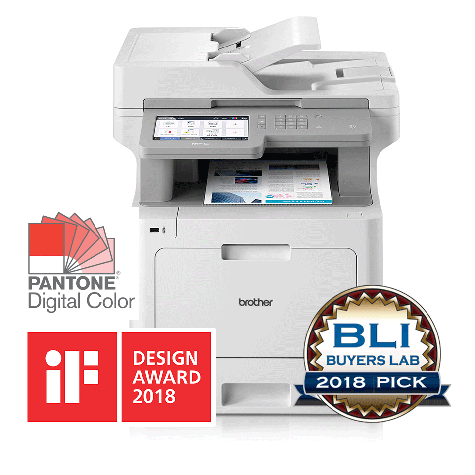 MFC-L9570CDW multifunction colour laser printer for SMBs with BLI and IF Design 2018 award