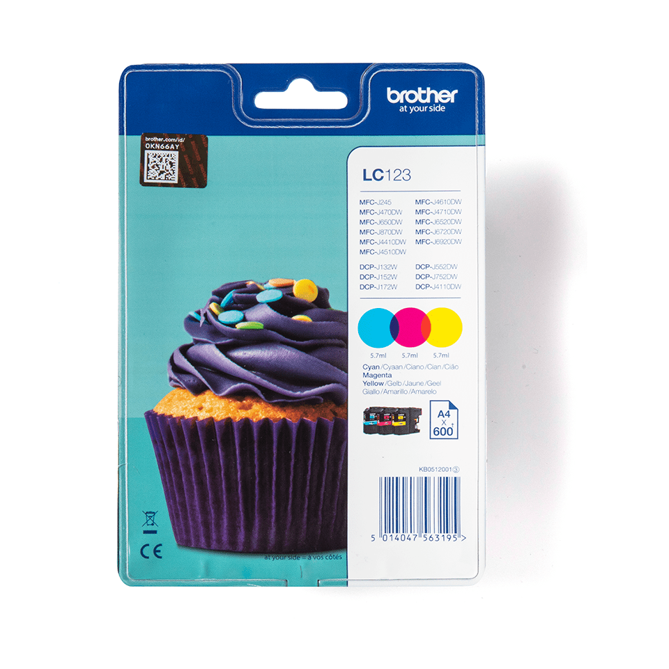 Genuine Brother LC123RBWBP Ink Cartridge Rainbow Blister Pack