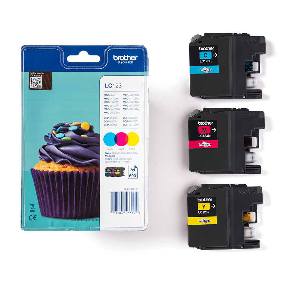 Genuine Brother LC123RBWBP Ink Cartridge Rainbow Blister Pack 3