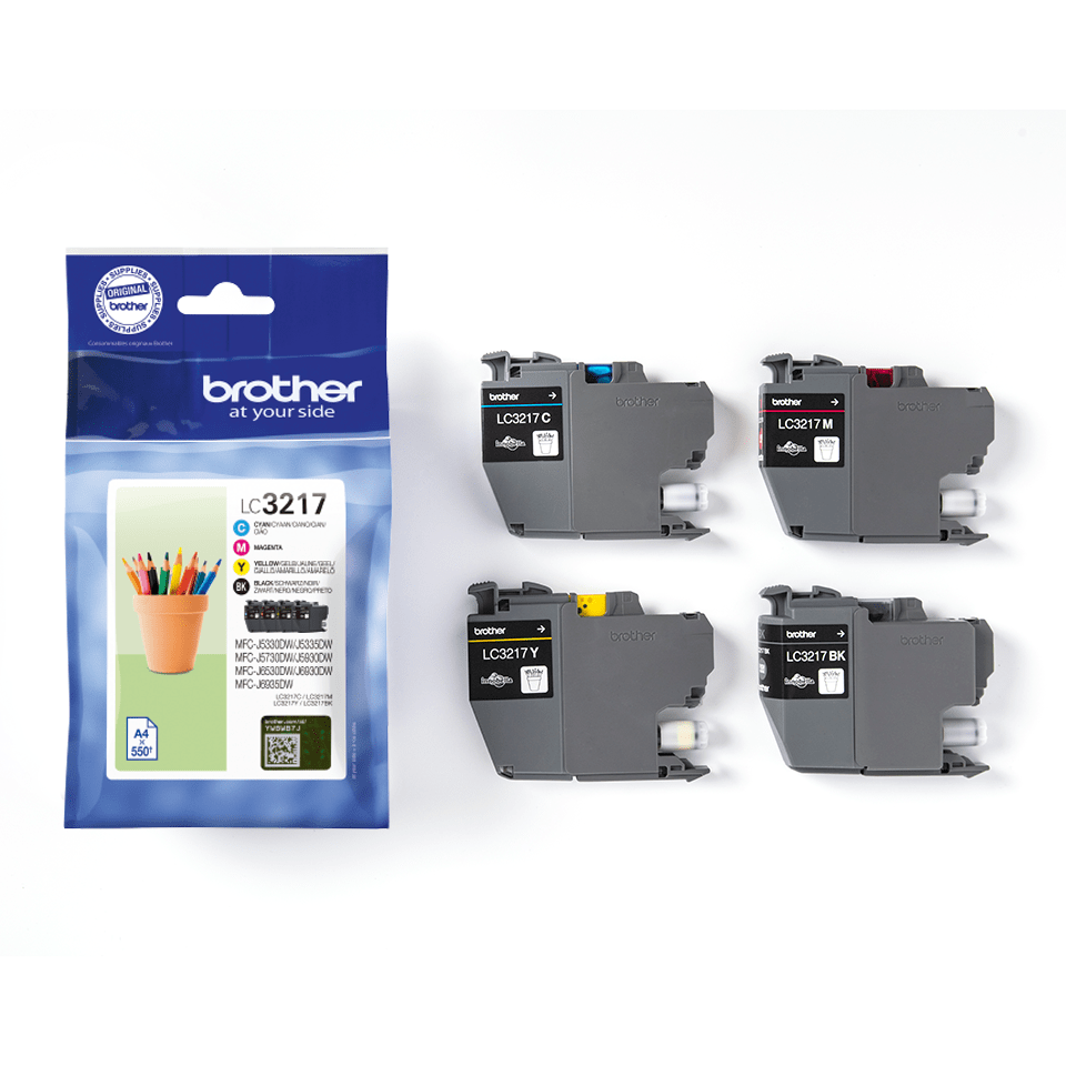 Genuine Brother LC3217VAL ink catridge value pack - black, cyan, magenta and yellow 2
