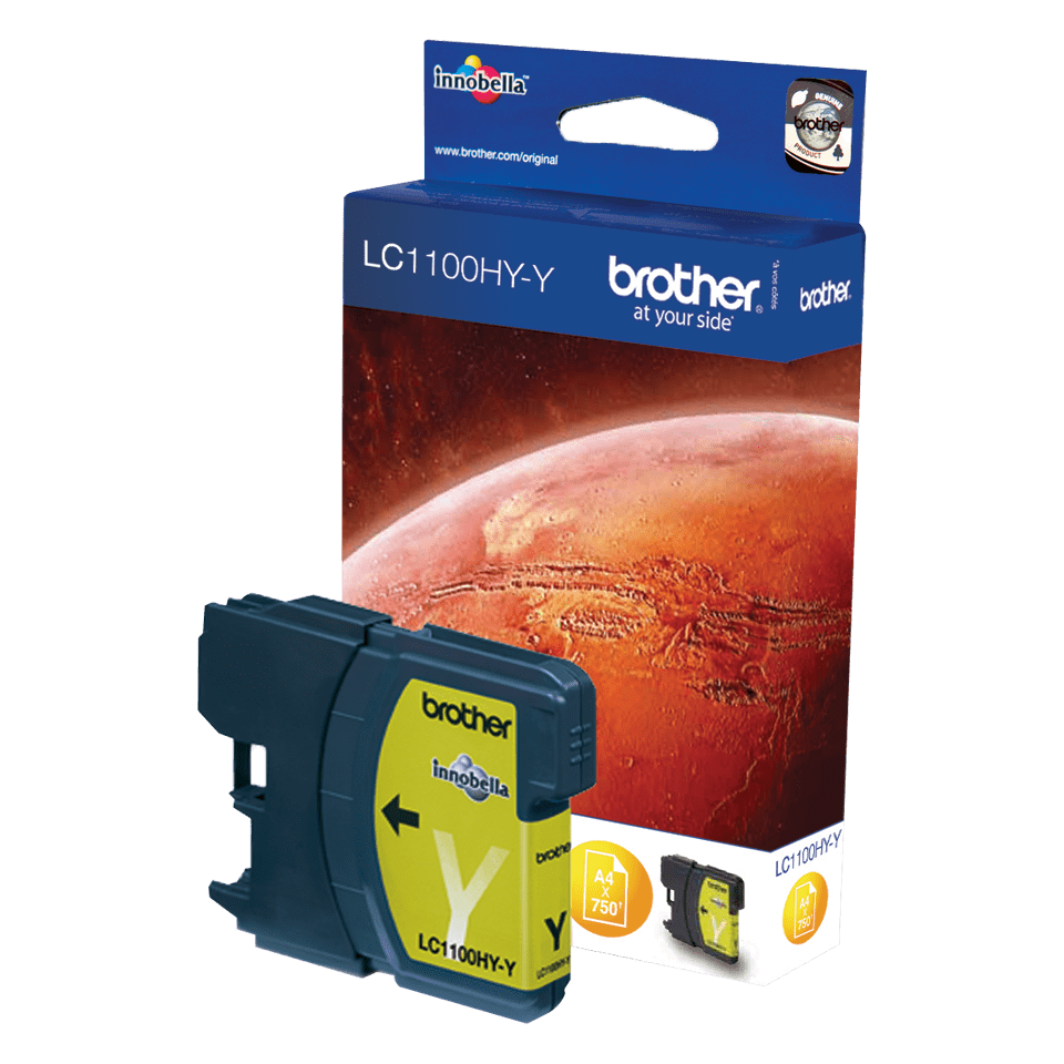 Genuine Brother LC1100HYY High Yield Ink Cartridge – Yellow 1