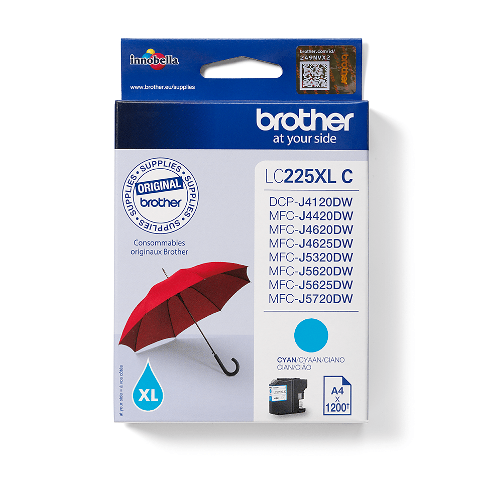Genuine Brother LC225XLC Ink Cartridge – Cyan