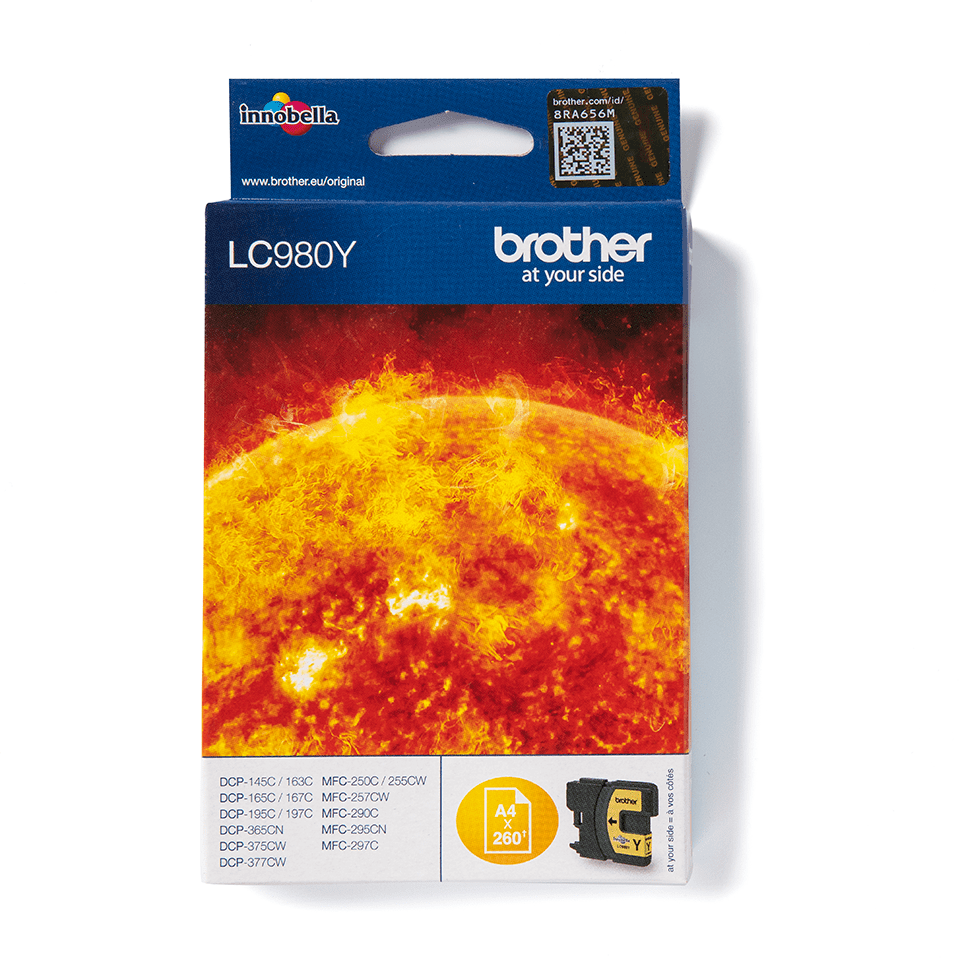 LC980Y Brother genuine ink cartridge pack front image
