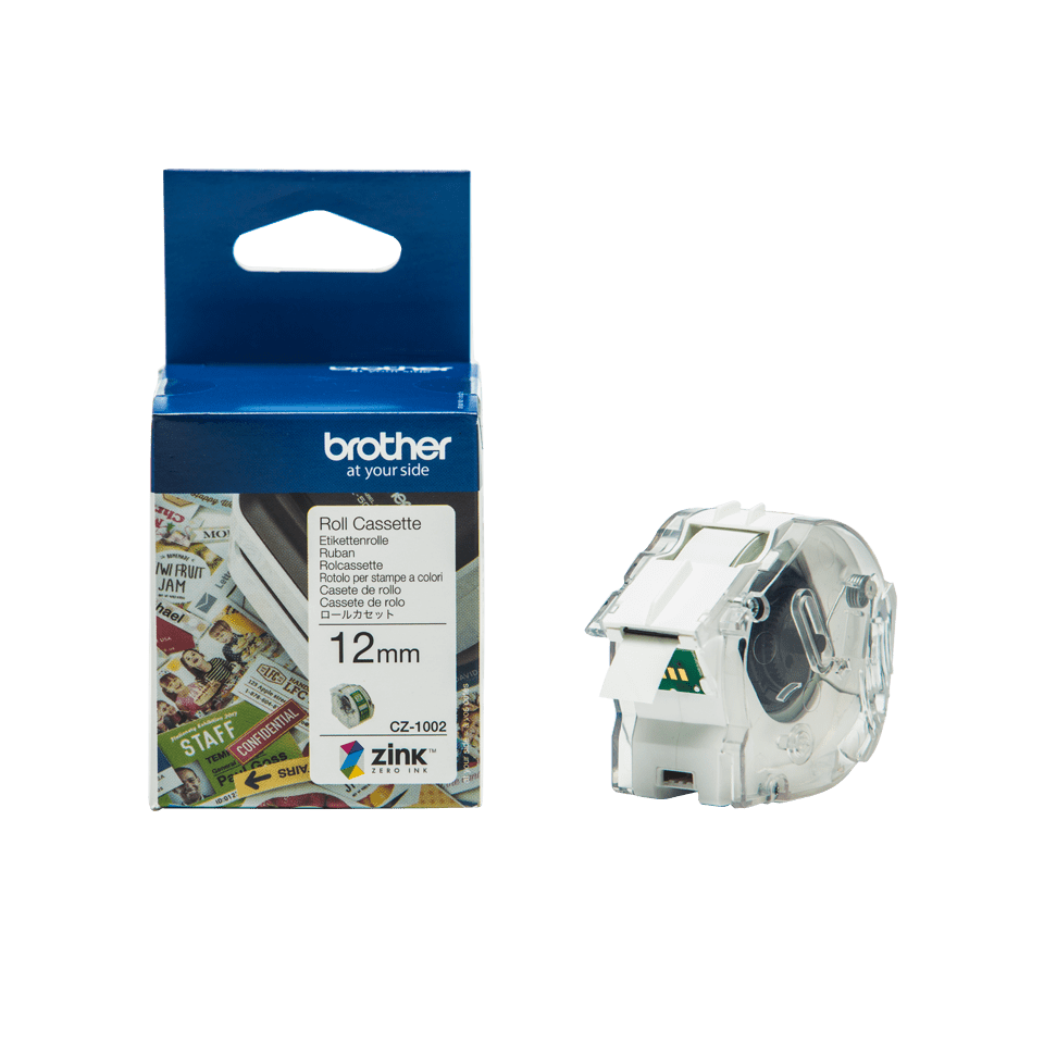 Genuine Brother CZ-1002 full colour continuous label roll, 12mm wide 16