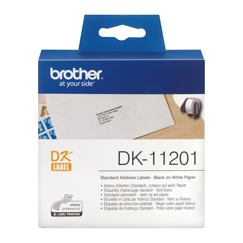 Genuine Brother DK-11201 Label Roll – Black on White, 29mm x 90mm 0