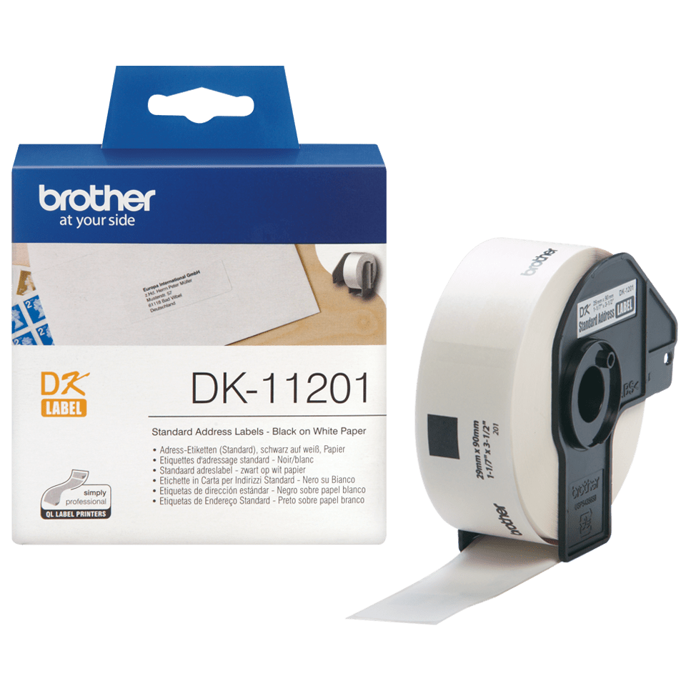 Genuine Brother DK-11201 Label Roll – Black on White, 29mm x 90mm 2