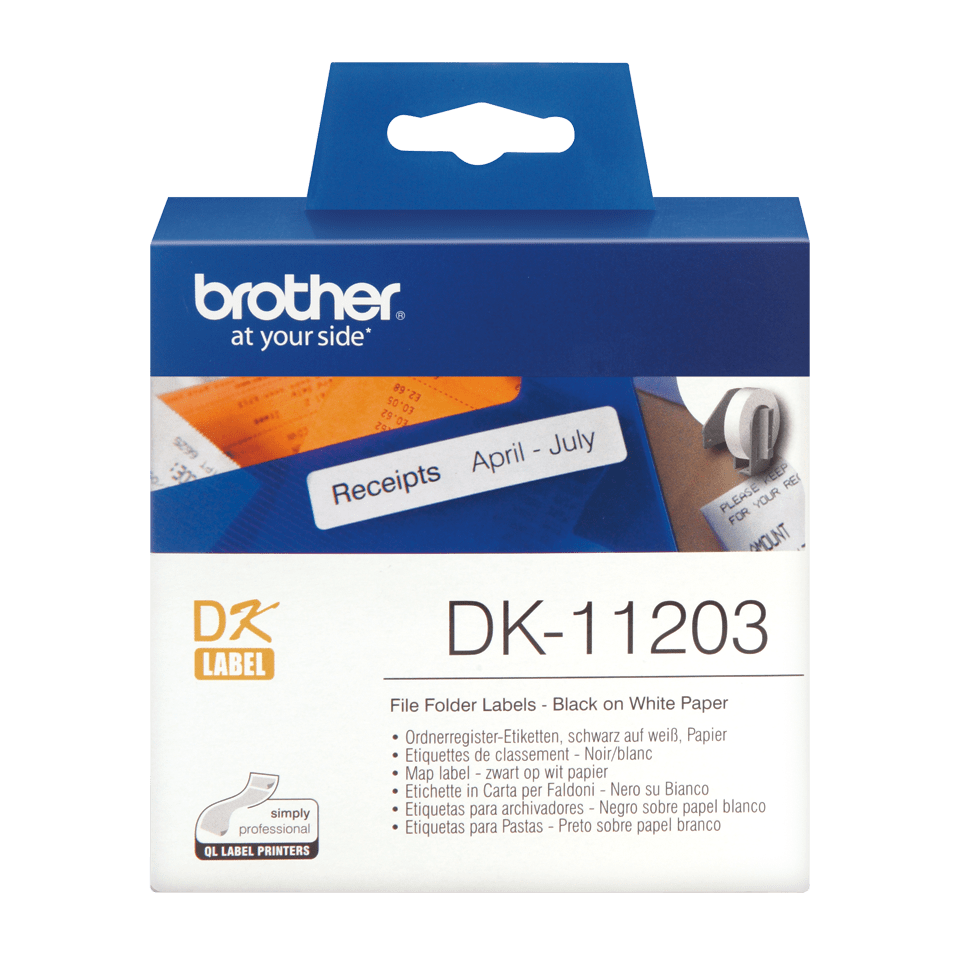 Genuine Brother DK-11203 Label Roll – Black on White, 17mm x 87mm 0