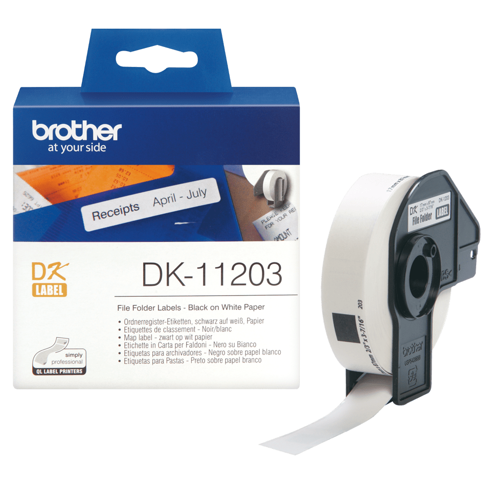 Genuine Brother DK-11203 Label Roll – Black on White, 17mm x 87mm 2