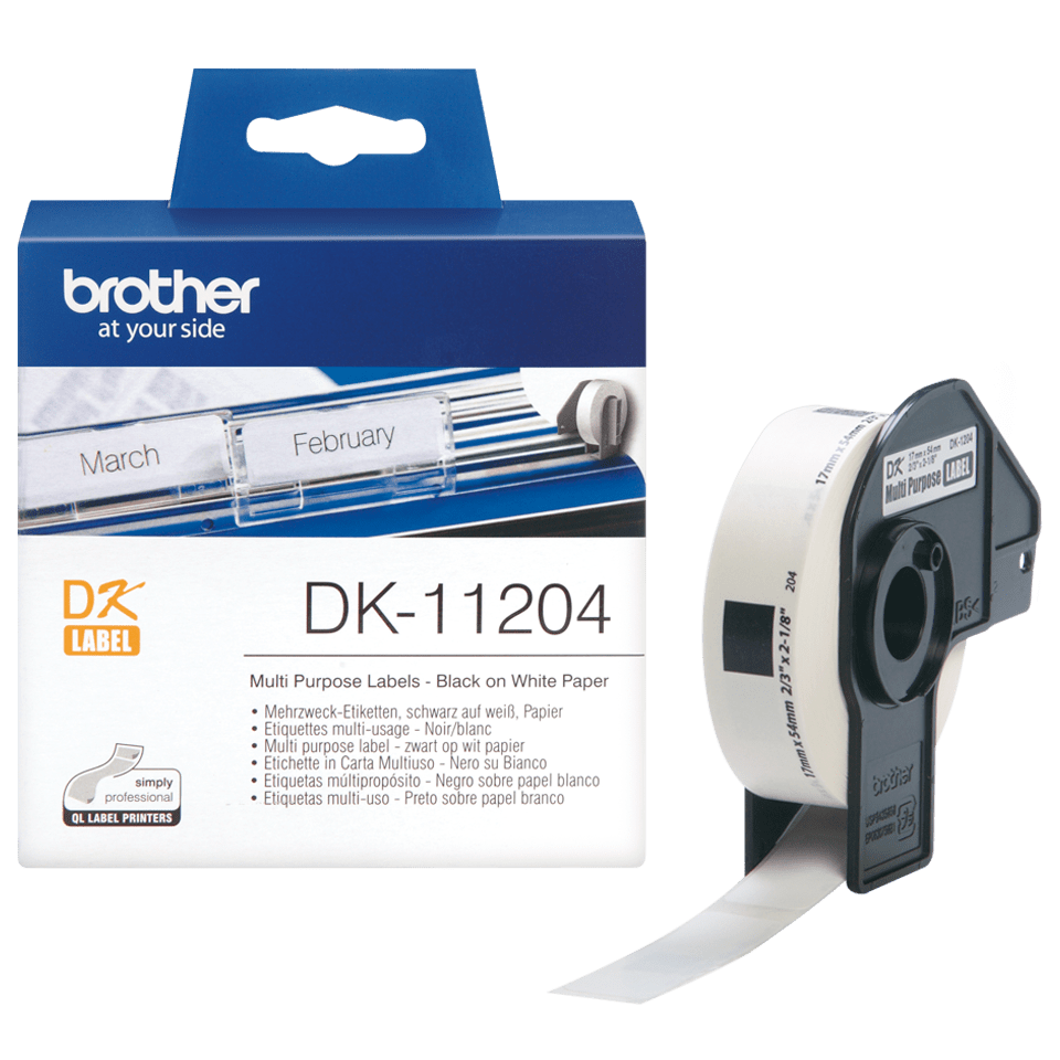 Genuine Brother DK-11204 Label Roll – Black on White, 17mm x 54mm 3