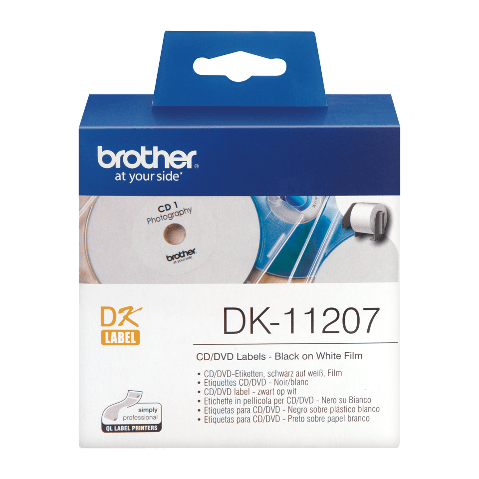 Genuine Brother DK-11207 CD/DVD Film Label Roll – Black on White, 58mm diameter