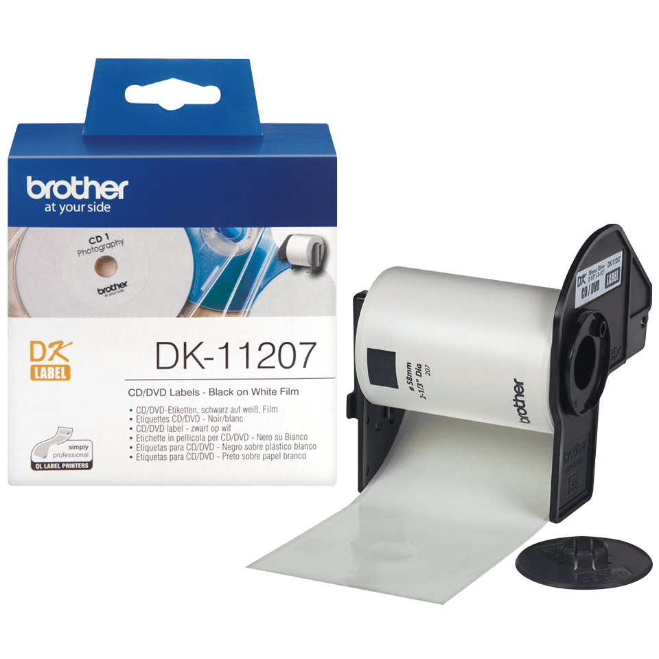 Genuine Brother DK-11207 CD/DVD Film Label Roll – Black on White, 58mm diameter 3