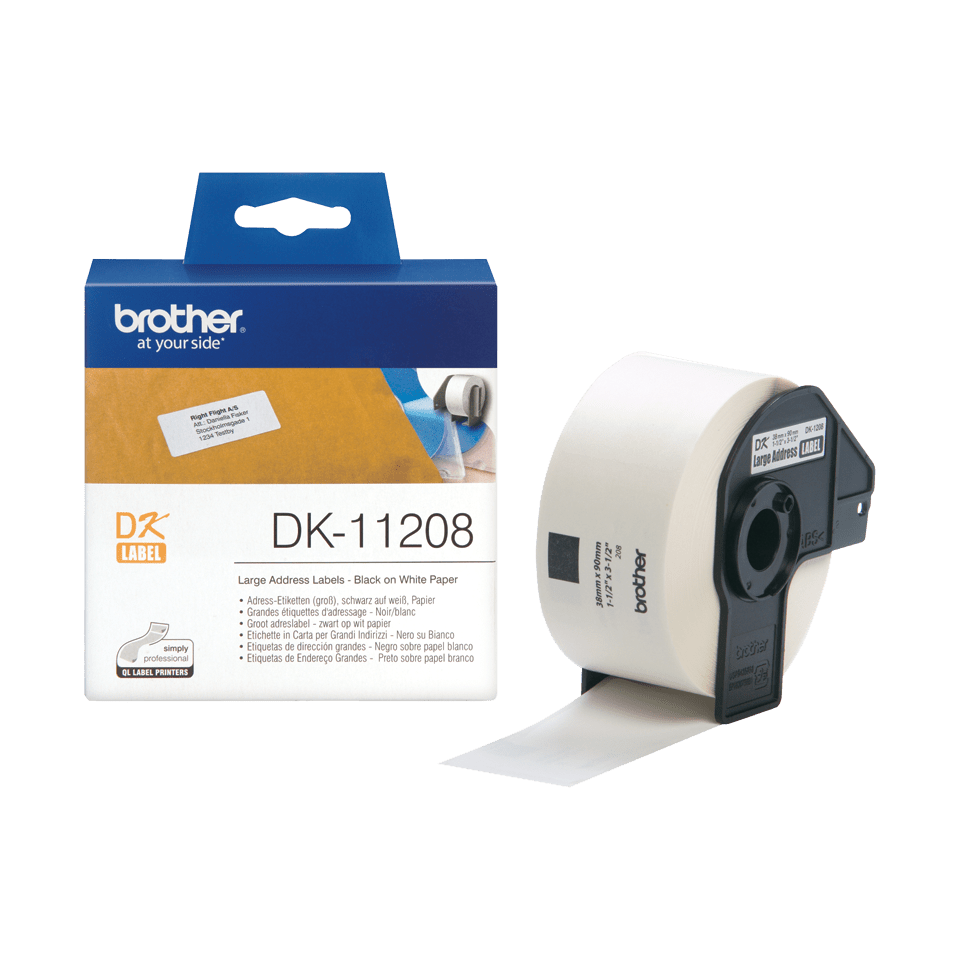 Genuine Brother DK-11208 Label Roll – Black on White, 38mm x 90mm 3