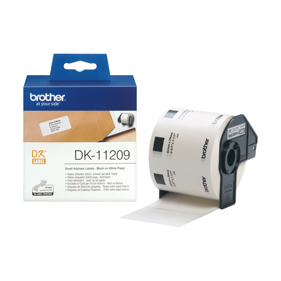 Genuine Brother DK-11209 Label Roll – Black on White, 29mm x 62mm 3