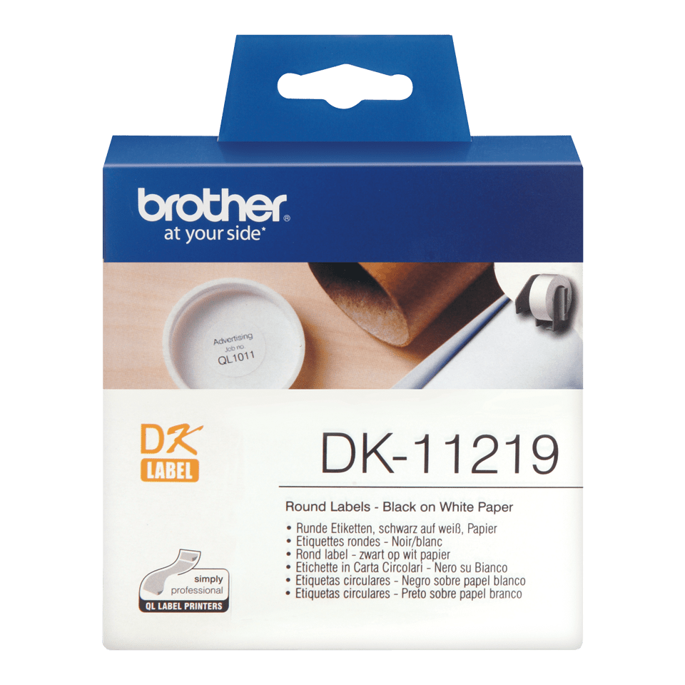 Genuine Brother DK-11219 Label Roll – Black on White, 12mm round labels