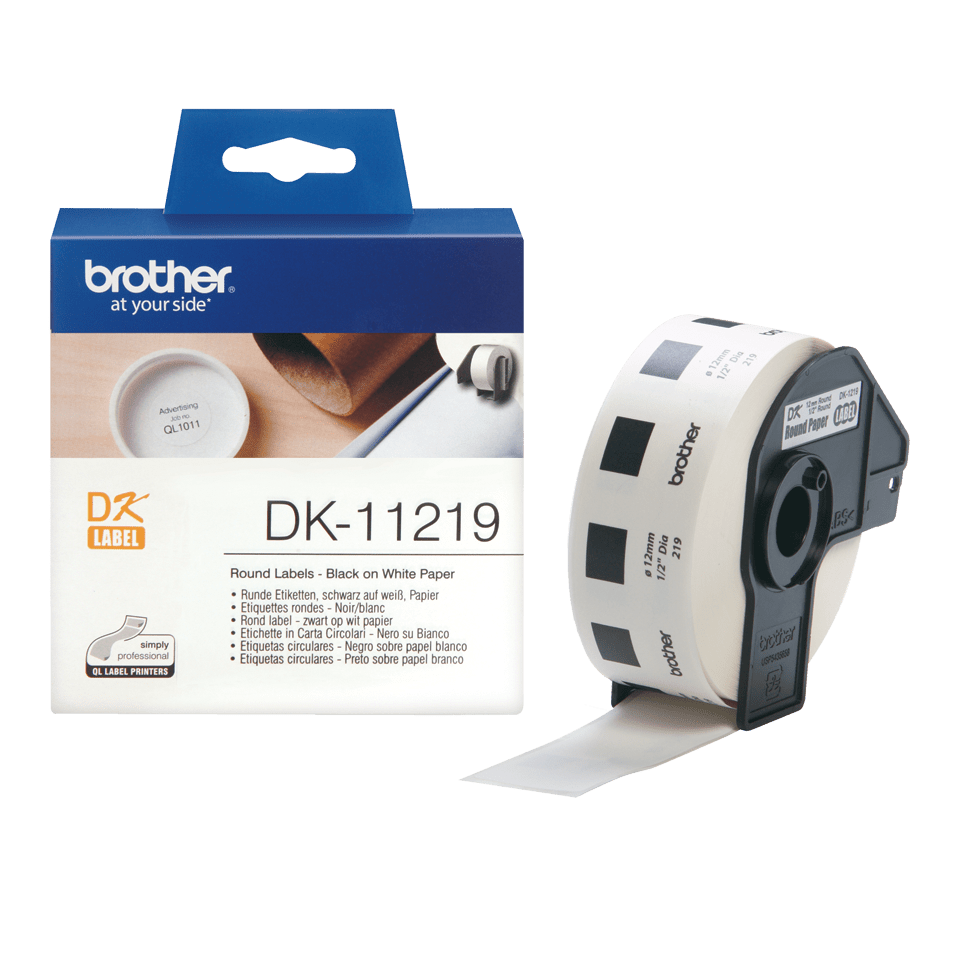 Genuine Brother DK-11219 Label Roll – Black on White, 12mm round labels 3