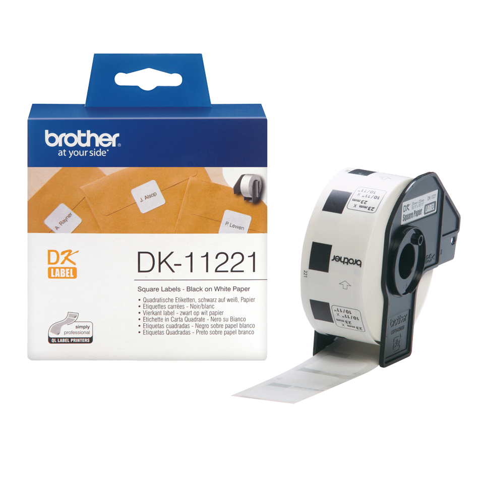 Genuine Brother DK-11221 Label Roll – Black on White, 23mm x 23mm 3