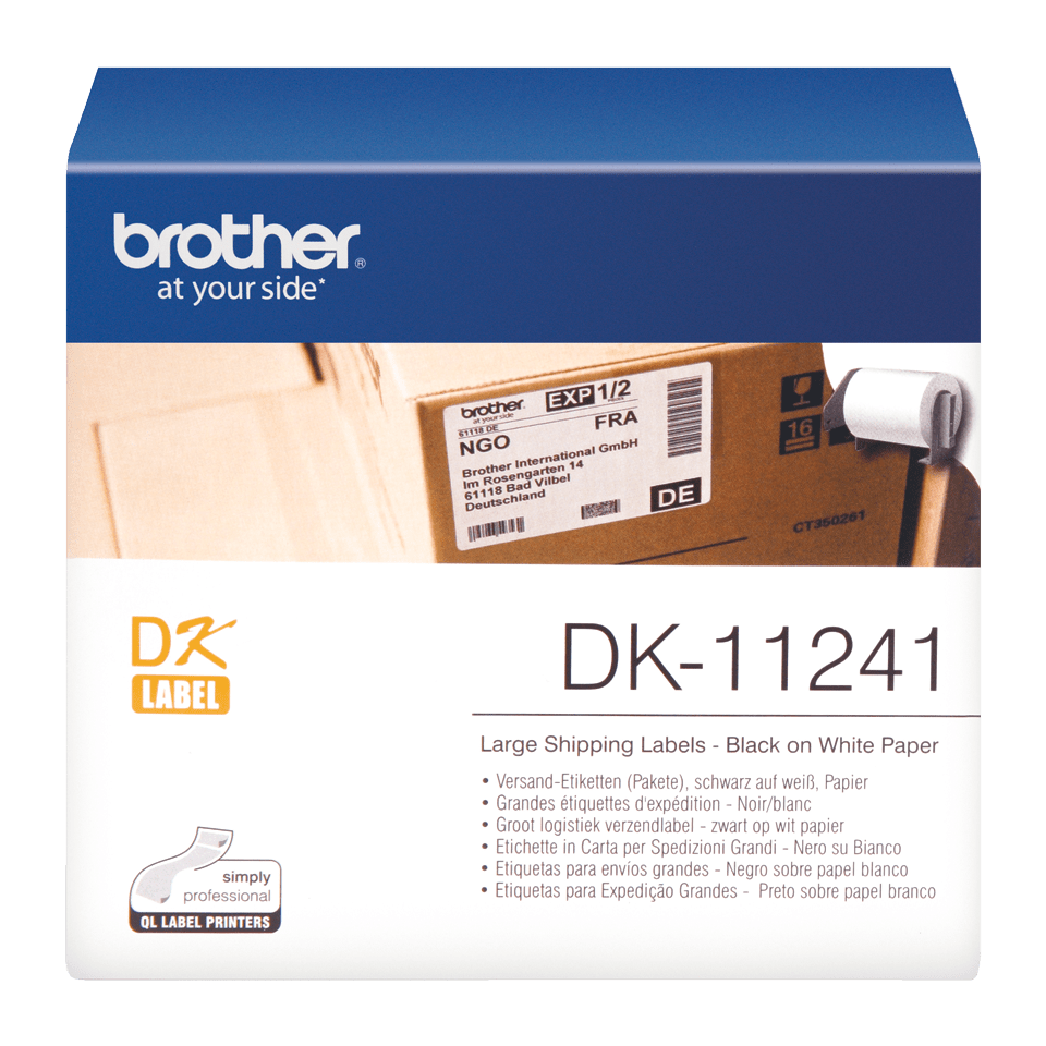 Genuine Brother DK-11241 Label Roll – Black on White, 102mm x 152mm