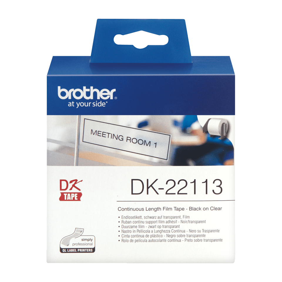 Genuine Brother DK-22113 Continuous Film Label Roll – Black on Clear, 62mm. 2
