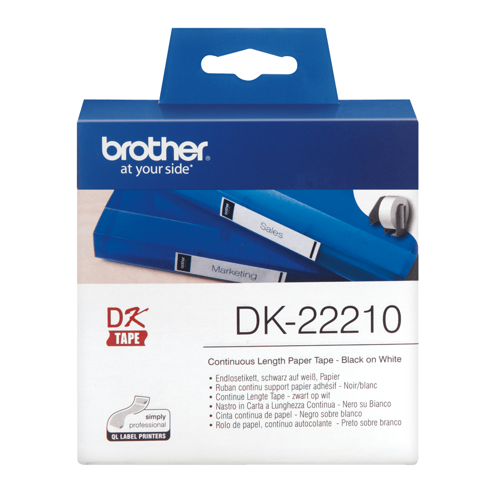 Genuine Brother DK-22210 Continuous Paper Label Roll – Black on White, 29mm wide
