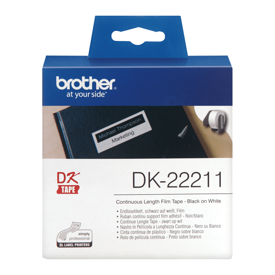 Genuine Brother DK-22211 Continuous Film Label Roll – Black on White, 29mm. 0
