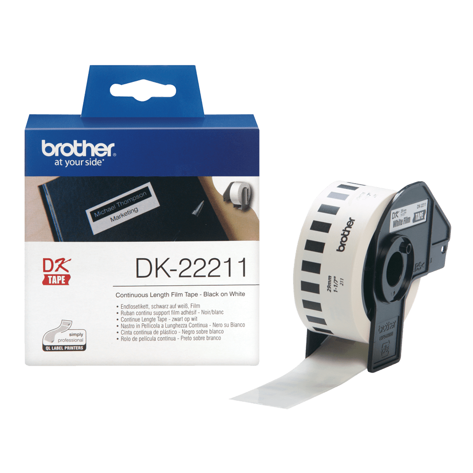Genuine Brother DK-22211 Continuous Film Label Roll – Black on White, 29mm. 2