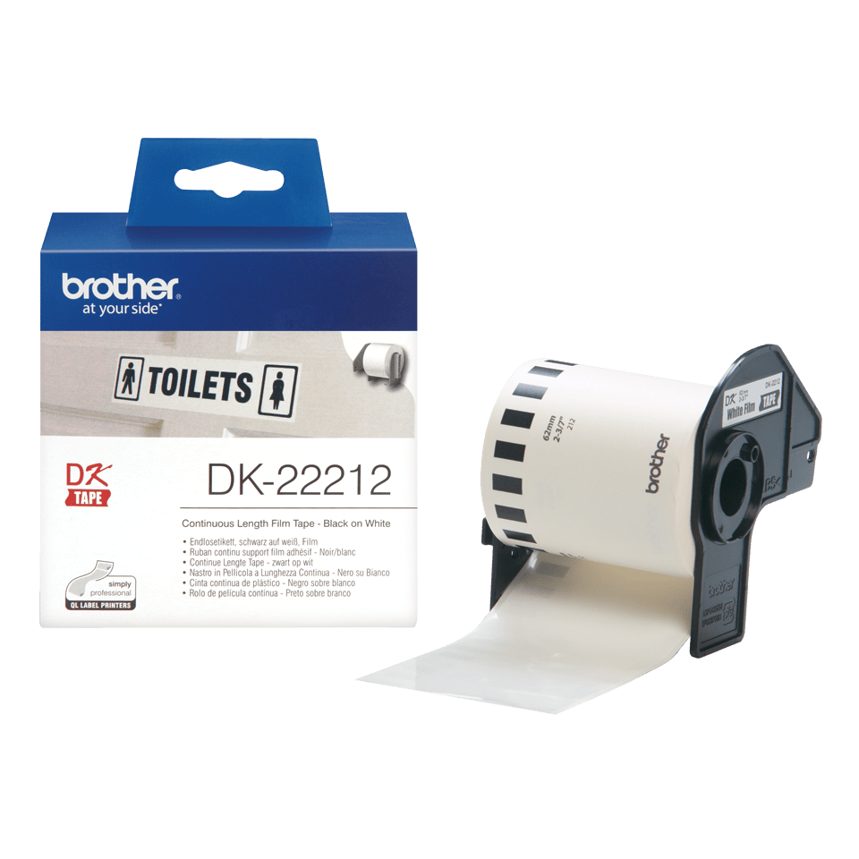 Genuine Brother DK-22212 Continuous Film Label Roll – Black on White, 62mm 2