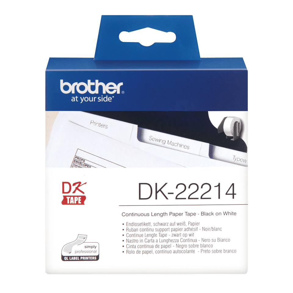 Genuine Brother DK-22214 Continuous Paper Label Roll – Black on White, 12mm wide 0