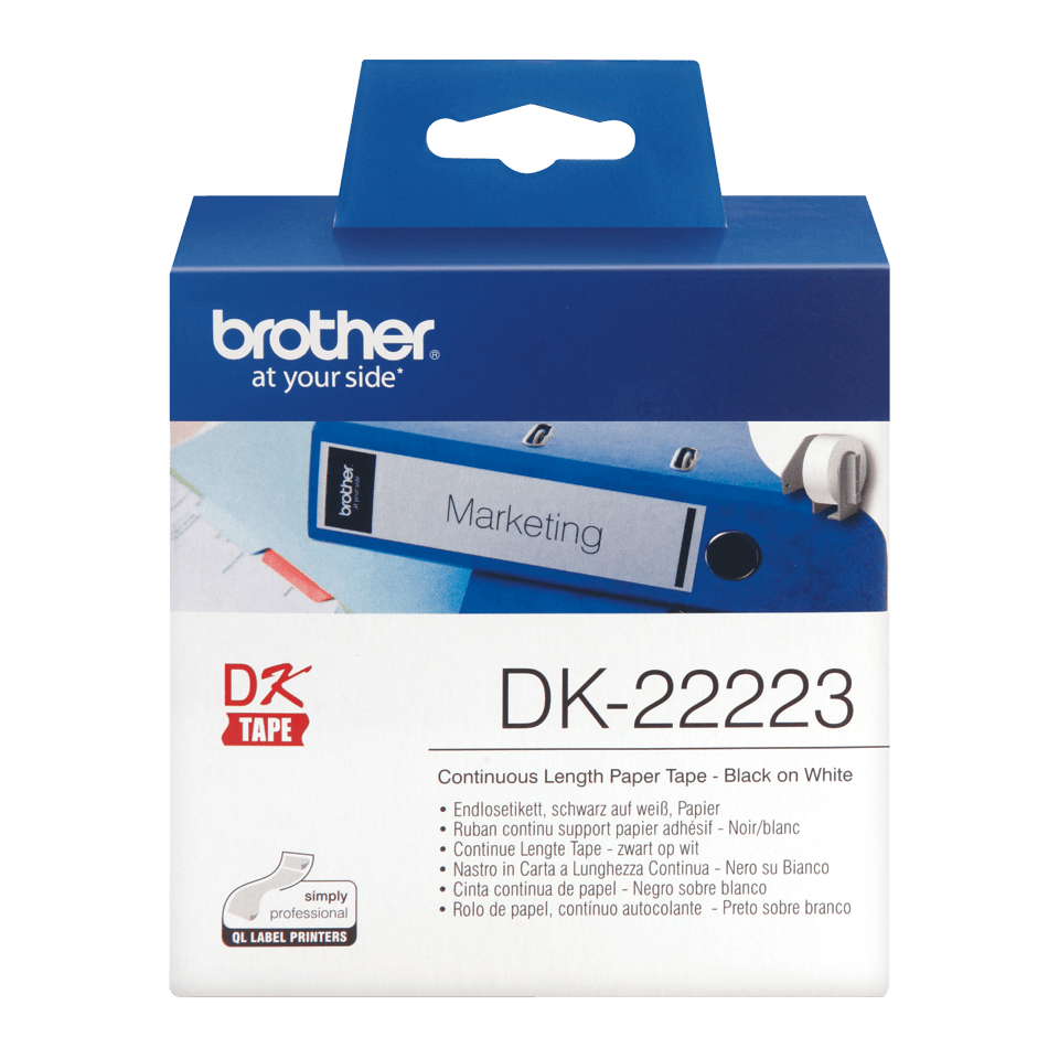 Genuine Brother DK-22223 Continuous Paper Label Roll – Black on White, 50mm wide 0