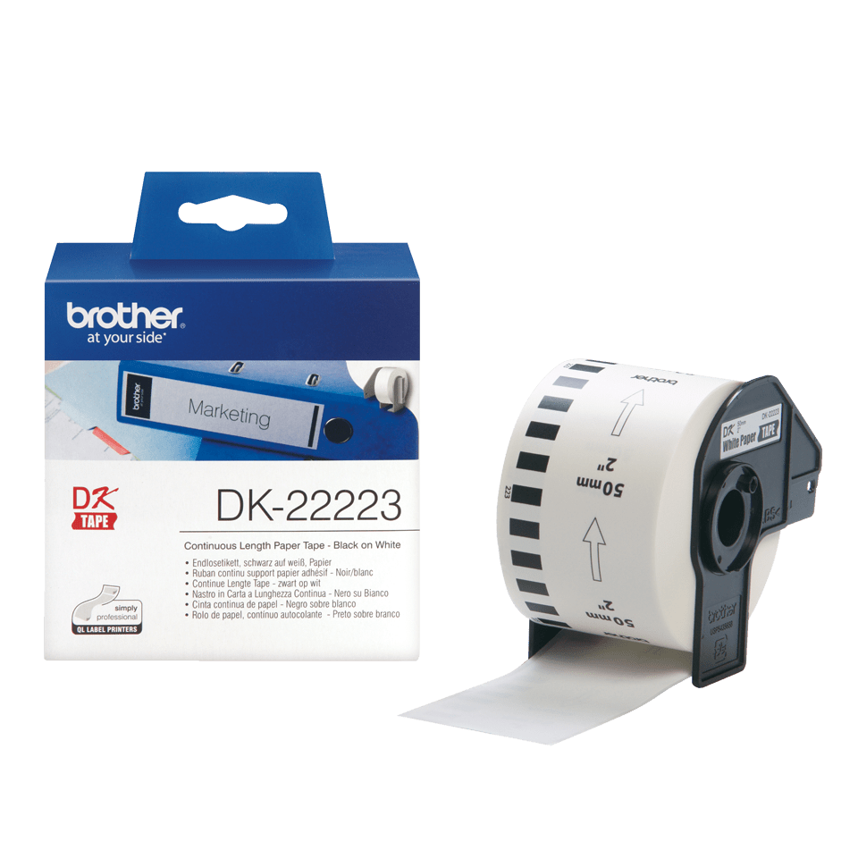 Genuine Brother DK-22223 Continuous Paper Label Roll – Black on White, 50mm wide 3