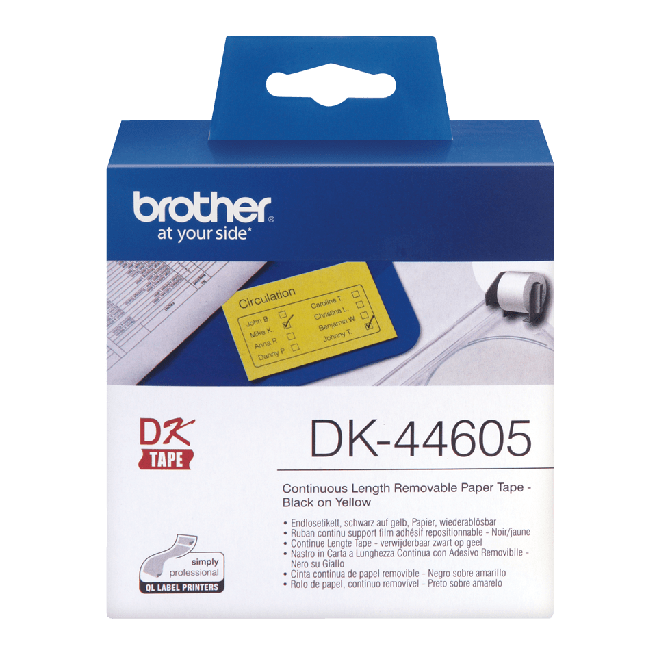 Genuine Brother DK-44605 Continuous Paper Label Roll with Removable Adhesive – Black on Yellow, 62mm