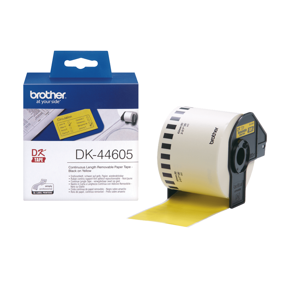 Genuine Brother DK-44605 Continuous Paper Label Roll with Removable Adhesive – Black on Yellow, 62mm 2