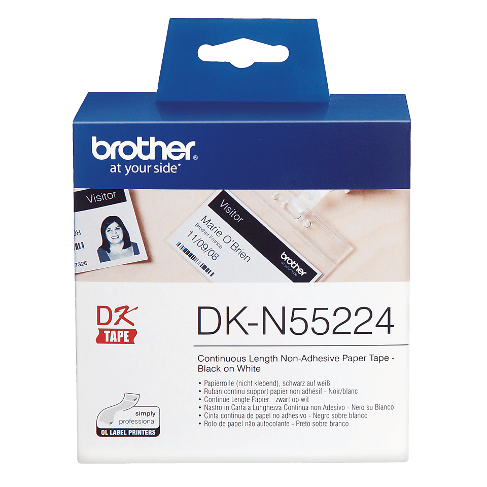 Genuine Brother DK-N55224 Continuous Non-Adhesive Paper Roll – Black on White, 54mm