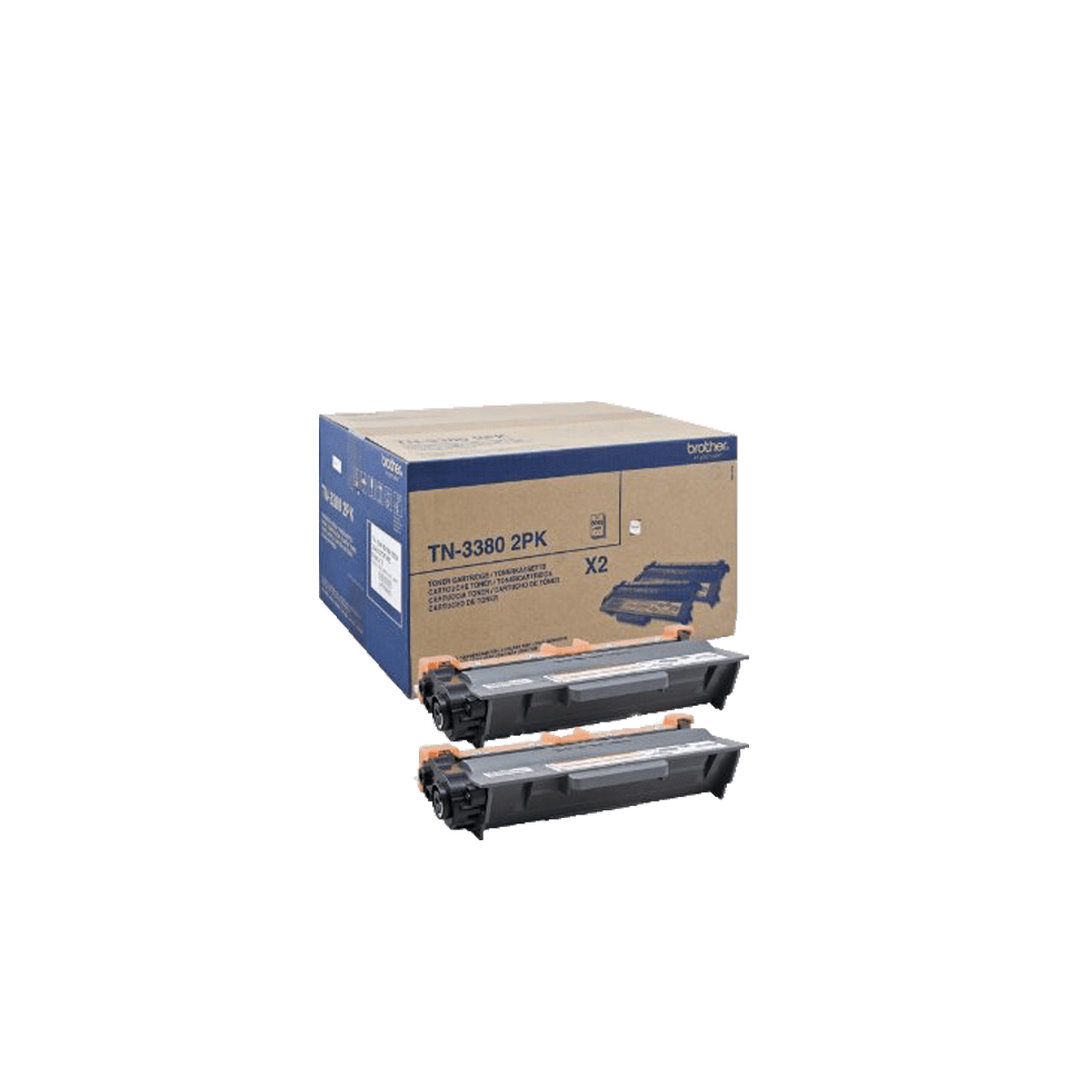 Genuine Brother TN-3380TWIN High Yield Toner Cartridge Twin Pack – Black