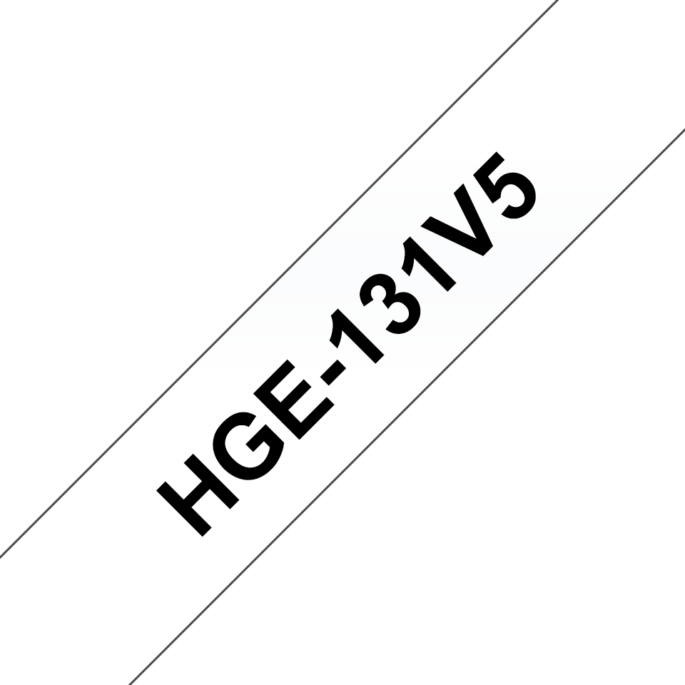 Genuine Brother HGe-131V5 Labelling Tape Cassette – Black on Clear, 12mm wide