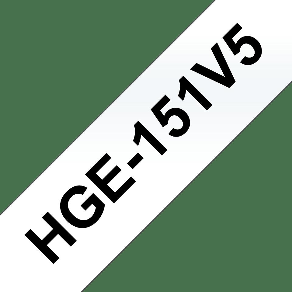 Genuine Brother HGe-151V5 Labelling Tape Cassette – Black on Clear, 24mm wide