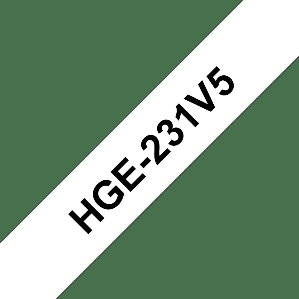 Genuine Brother HGE-231V5 Labelling Tape Cassette – Black on White, 12mm wide