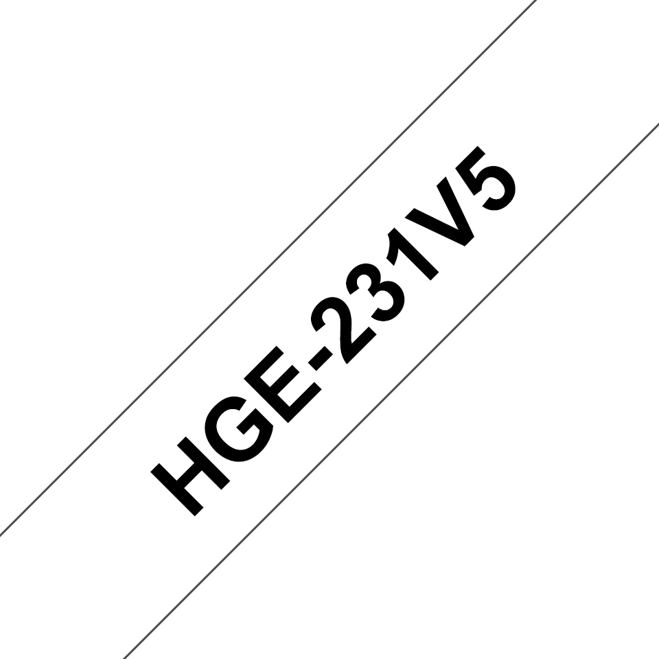 Genuine Brother HGE-231V5 Labelling Tape Cassette – Black on White, 12mm wide