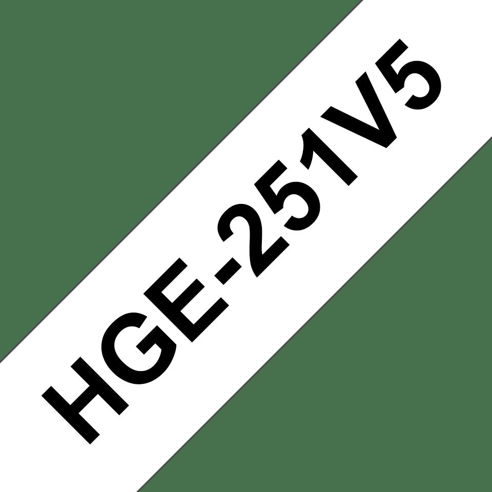Genuine Brother HGE-251V5 Labelling Tape Cassette – Black on White, 24mm wide