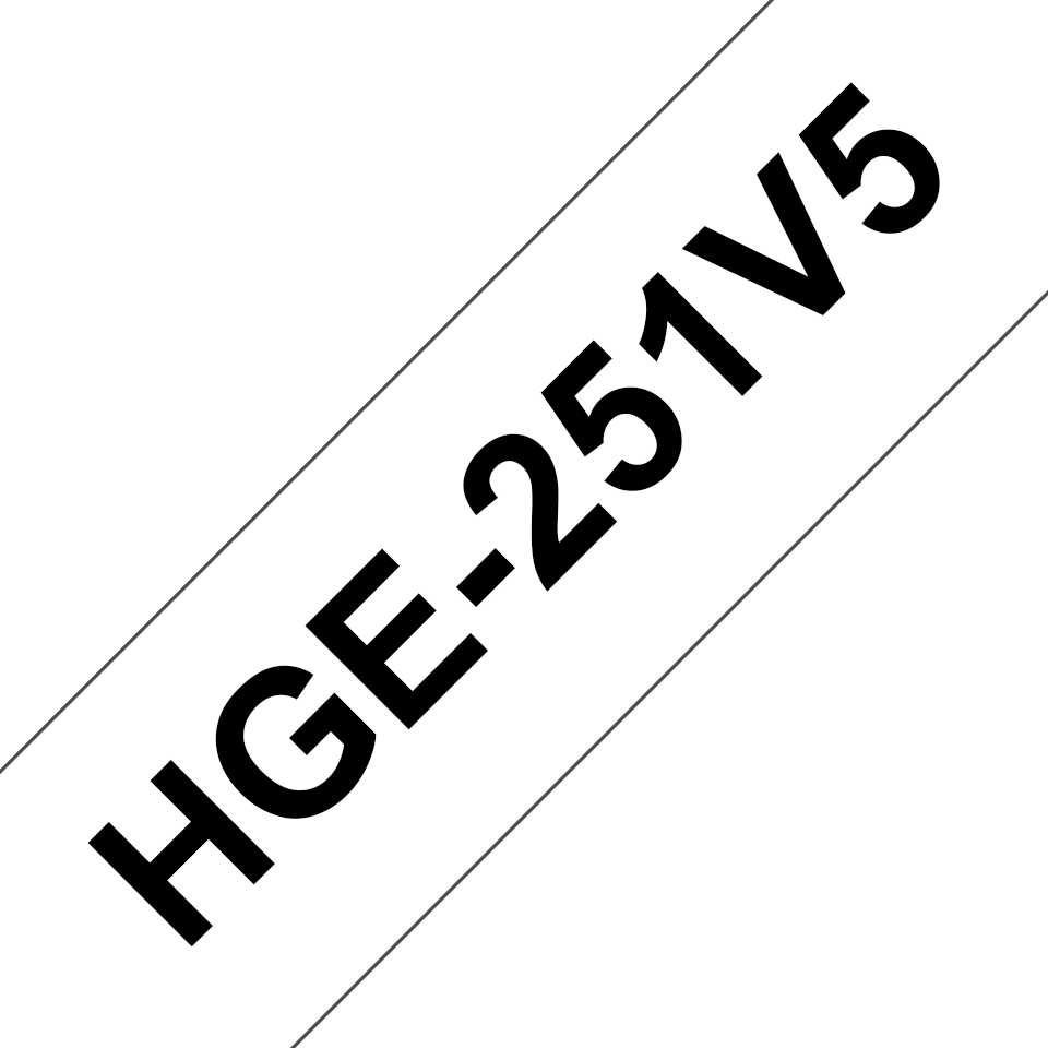 Genuine Brother HGE-251V5 Labelling Tape Cassette – Black on White, 24mm wide