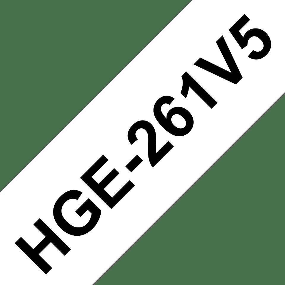 Genuine Brother HGE-261V5 Labelling Tape Cassette – Black on White, 36mm wide