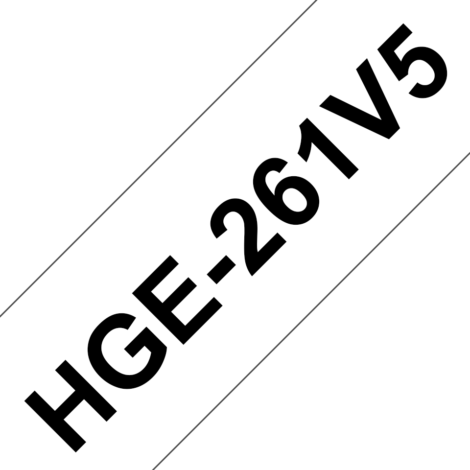 Genuine Brother HGE-261V5 Labelling Tape Cassette – Black on White, 36mm wide 0