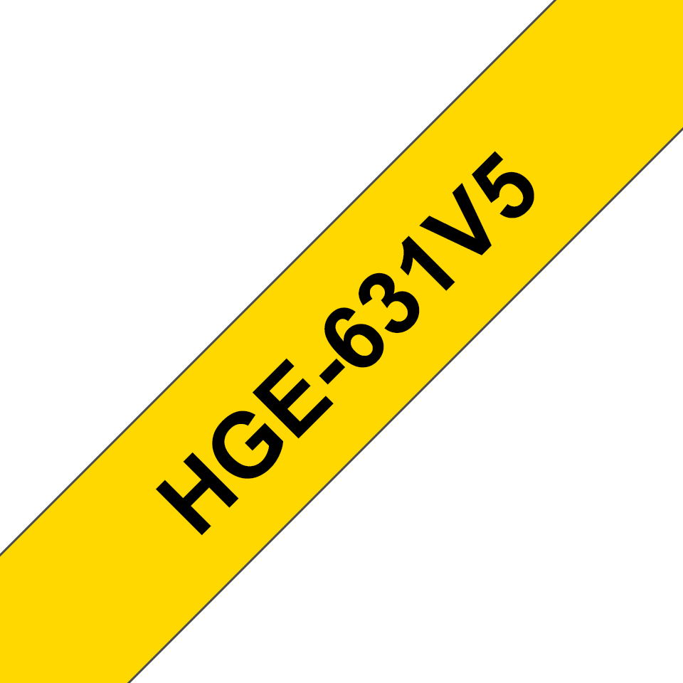 Genuine Brother HGE-631V5 Labelling Tape Cassette – Black on Yellow, 12mm wide 0